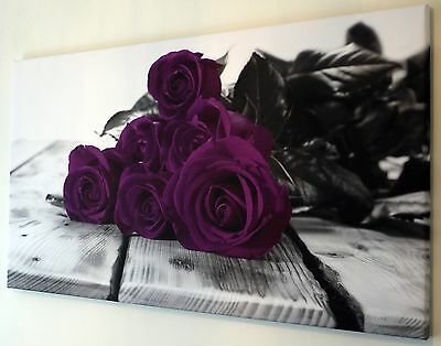 """Purple Roses Canvas Wall Art Picture Large 18"""" X 32"""" Inch"""