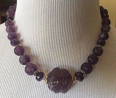 "Vintage CHINESE Carved AMETHYST Beads Gilt Silver NECKLACE 18"" Long"