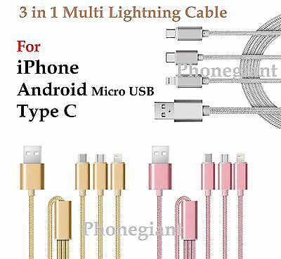 3 in 1 Multi Type C USB Micro Lightning Charging Cable For iPhone Android Tablet