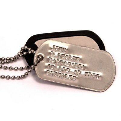 2X Military Custom Personalized Stainless Dog/Toe Tags Debossed Chain+Silencers