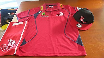 Qld Reds Qru Rugby Polo Shirt Size S With Scarf & Cap G/cond