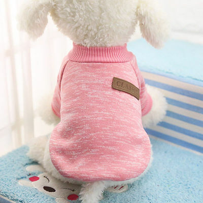 Pet Dog Cotton Sweater Soft Various Puppy Cat Clothes  Coat Chihuahua XS Pink