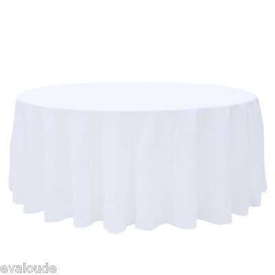 """10 x White Round 108"""" 200gm Polyester Tablecloth Table Cover Cloth Wedding Party"""