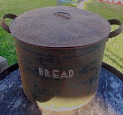 Old rustic VINTAGE farm house Metal bread bin TIN green  canister retro