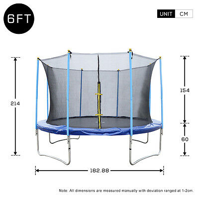 Rocket Bunny 6ft Trampoline with Safety Net Enclosure Outdoor Heavy Duty