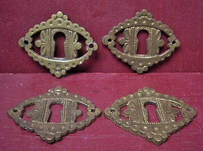 4 Vintage Cast Brass Drawer Desk Cabinet Escutcheon Key Hole Cover #2
