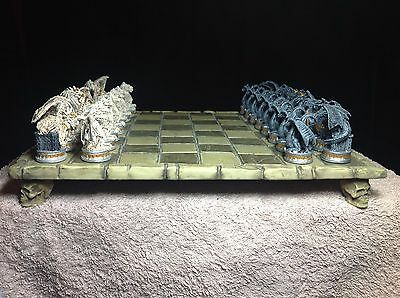 gothic style chess set and board,dragons ,skulls