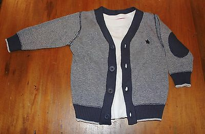 NEW Baby Boy Navy Blue Striped Star Cardigan & Top 6-12 Months Size 0 FREE POST