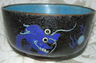 Antique Chinese Asian Cloisonne Enamel Bowl Dish 5 Toed Dragons A/F 11CmW