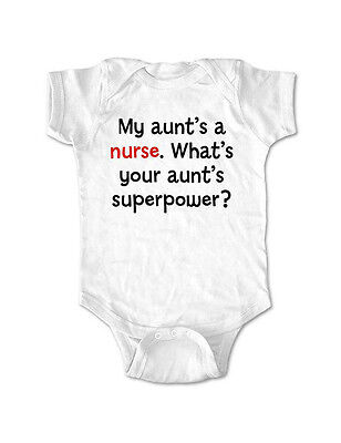 My aunt's a nurse. What's your aunt's superpower baby bodysuit toddler shirt