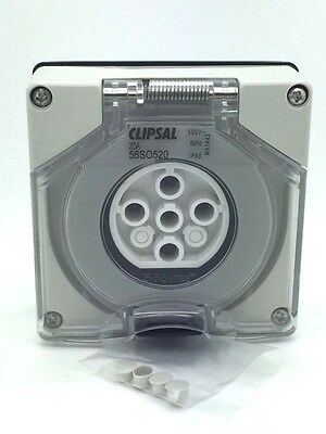 CLIPSAL 56SO520 56SO520LE Socket Outlet 5 Pin Round 3P 20A 500V Less Enclosure