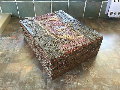 Beautiful Antique Beadwork Box With Gilt Drinking Glasses