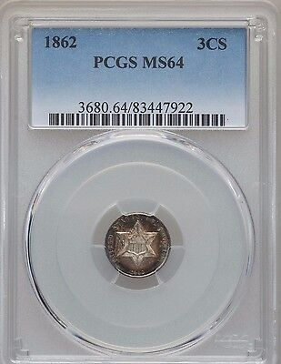 1862 Three Cent Silver  PCGS MS64  **Nice Color**Civil War Year**