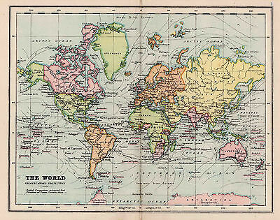 Map Of The World Antique Original Printed 1880s