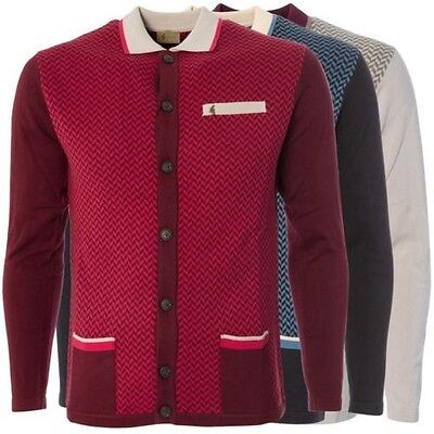 Gabicci Vintage Mens Knitted Cardigan Button up Geo Pattern Knitwear Sizes S-2XL