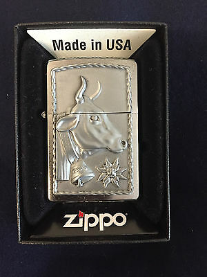 ZIPPO Lighter / Feuerzeug, Modell: Cow and Edelweiss, Made in USA