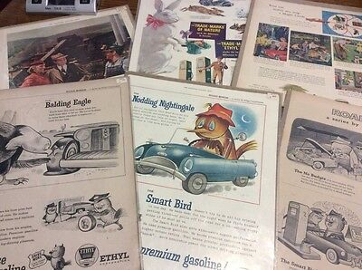 Vintage Ethyl Gas / Oil Magazine Ads LOT of 6 !!!!!