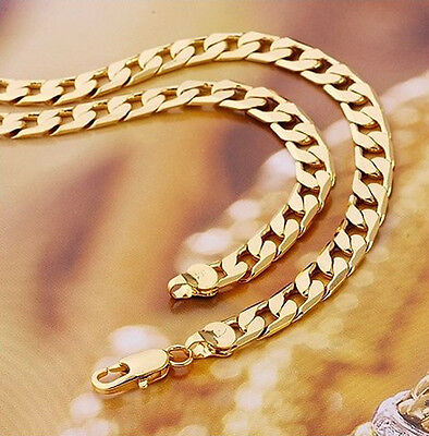 Classic Mens Jewellery 18 k Gold Plated Necklace Men Chain Wide 10 mm N106