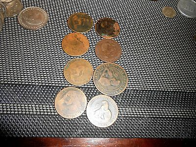 Nice  Lot Of 8 Old Spain Coins