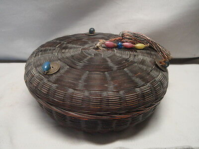 Antique Woven Chinese Covered Basket w/ Coin & Glass Jewel Decorations