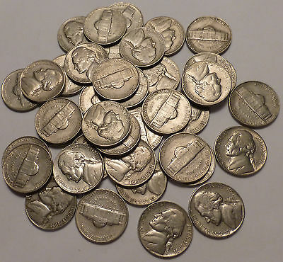 1951 S Jefferson Nickel Roll of 40 Circulated Coins