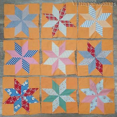 Pretty Vintage 1930s SET of 9 Orange Star QUILT BLOCKS - Make doll or table Quil