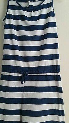 Girls blue and white stripy jumpsuit age 10