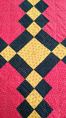 Antique MENNONITE Quilt DOUBLE IRISH CHAIN c.1860-1880 - Lancaster Pennsylvania