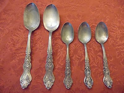 Vintage Silver Plated Moselle Flatware Ornate Mixed Spoon Craft Grade Lot Of 5