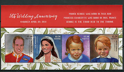 Nevis 2017 MNH Prince William & Kate 5th Wedding Anniv 4v M/S Royalty Stamps