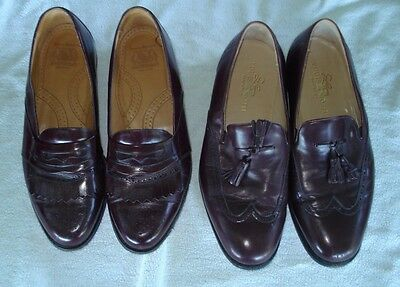 2 pr Men's Brown Dress Shoes Loafers size 10W - Johnston $ Murphy, Louis Roth