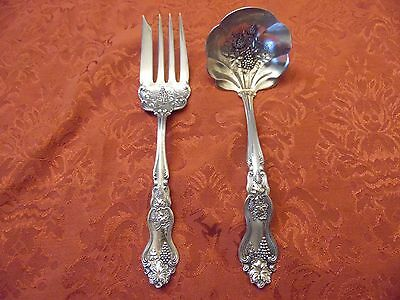Vintage Silver Plated Moselle Flatware Ornate Cold Meat Fork & Ladle Lot Of 2