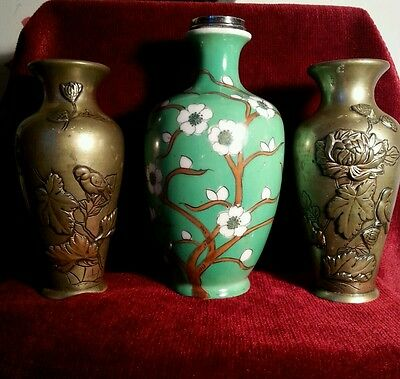 Three Antique Japanese  Vases Applied Flower & Bird Pair & Porcelain and Silver