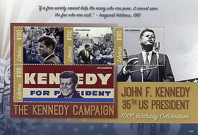 Liberia 2017 MNH JFK John F Kennedy 100th Birthday 4v M/S I US Presidents Stamps