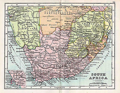 Map Of South Africa Antique Original Printed 1880s