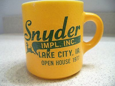 Vintage John Deere Coffee Cup~Snyder Implement Inc.~Lake City, Iowa