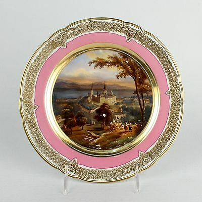 Antique Hand Painted Topographical Paris Porcelain Plate - Lausanne Castle PC