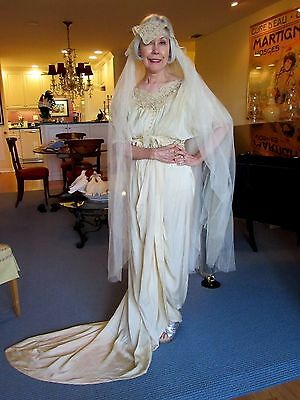 ANTIQUE 1913 IVORY SATIN & BELGIUM LACE Wedding Dress, VEIL & Ribbon Work Shawl