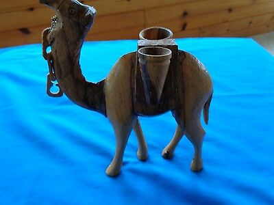 "VINTAGE HAND CARVED LARGE WOOD CAMEL 7.5"" Tall with two baskets"