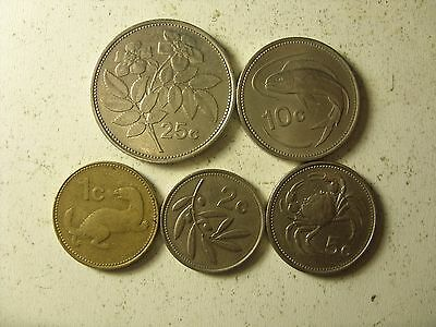 3  Lot Of 5 Malta Coins 1-25   Cents(2    Type   ) 1986  Interesting !!!!!!!!!!!