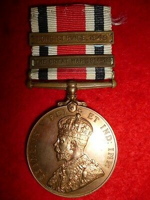 Special Constabulary Long Service Medal George V with WW1 Bar and 1949 Bar also