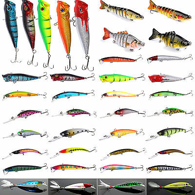 100 Fishing Lures Spinners Plugs Spoons Soft Bait Pike Trout Salmon Sets