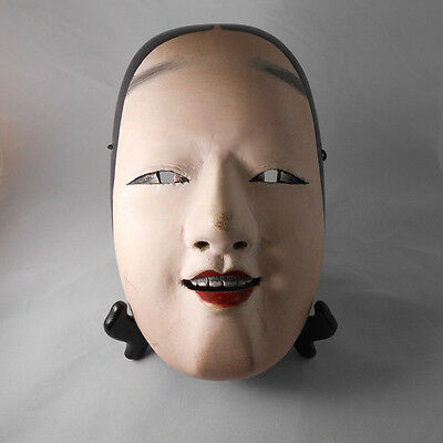 A Rustic  Painted Wooden Japanese Ko-omote Noh Mask