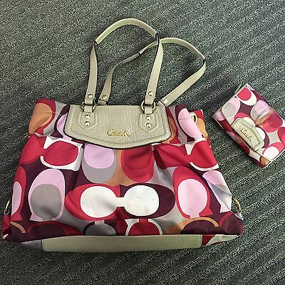 Coach Satin And Leather Tote Bag With Matching Wallet