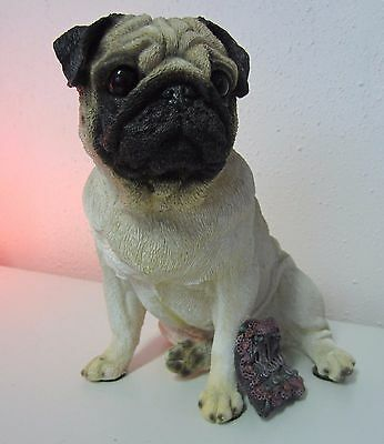 Large Living Stone Pug, Fawn Figurine, Sitting, With Pillow