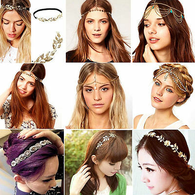 New Women Rhinestone Head Chain Jewelry Headband Head Piece Hair Band Lady Gift