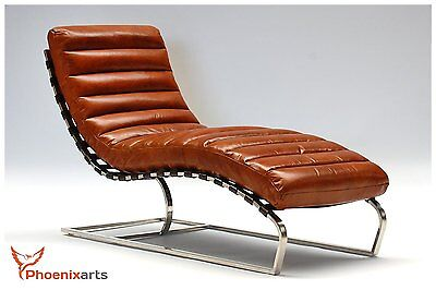 Real Leather Vintage Laying Relax Lounger Design recamiere Chaise Longue 536