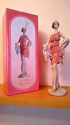 Retro Roaring 20s Lady in Coral Flapper Dress  shawl art Deco Figurine Statue