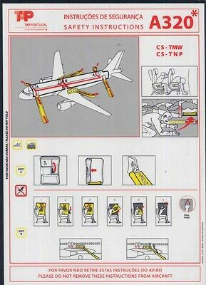 TAP PORTUGAL AIRLINES Airbus A 320 CS - TMW / TNP airline SAFETY CARD  sc704 ax