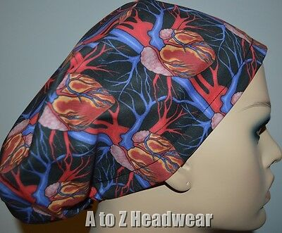 Anatomy of the Heart EURO-STYLE Surgical Scrub Hat Cap